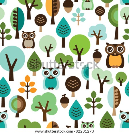 Seamless green leaf tree retro owl pattern for boys in vector - stock vector