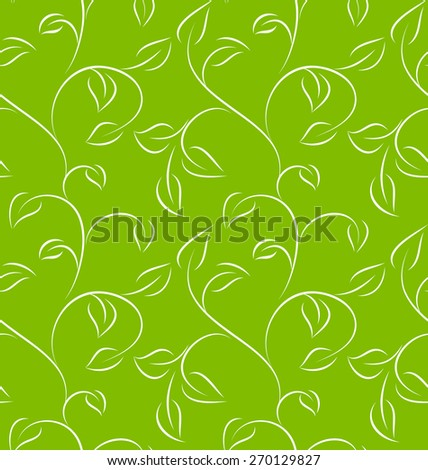 Seamless green leafy pattern on green background. Vector illustration. - stock vector