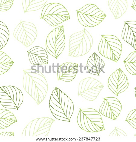 Seamless green leafy pattern on white background. vector illustration. - stock vector
