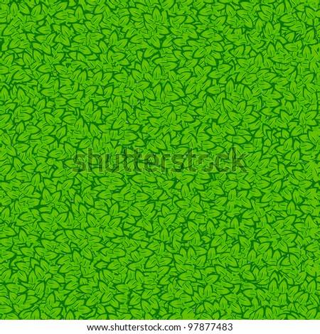 Seamless green leaves. Vector illustration - stock vector