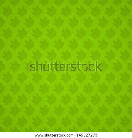 Seamless Green Maple Leaves Vector Texture - stock vector