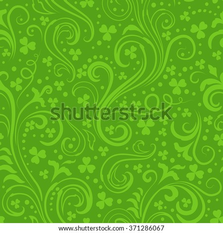 Seamless green St. Patrick's day background with floral swirls and clover leaves. - stock vector