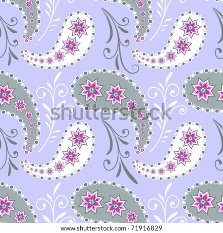 Seamless grey floral pattern with flowers and paisleys (vector) - stock vector