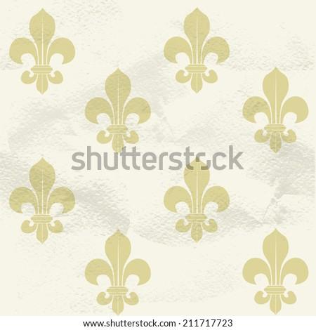 Seamless grungy vintage pattern from beige Fleur-de-lys - stock vector