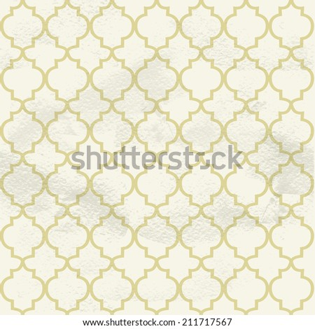 Seamless grungy vintage pattern from the beige ornamental lattice - stock vector
