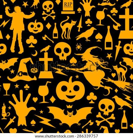 Seamless Halloween Background - stock vector