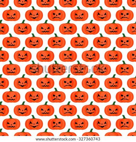 Seamless halloween background. Halloween pumpkins pattern. Happy Halloween concept illustration on black background. - stock vector