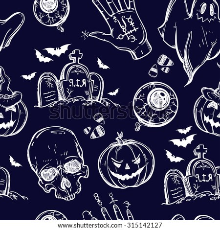Seamless Halloween pattern. Different Halloween characters, animals and objects. Hand drawn holiday symbols. Isolated vector illustration. - stock vector
