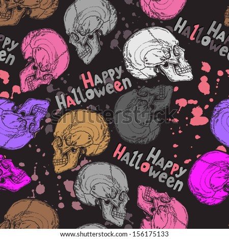 seamless halloween pattern with color skulls, text and blots - stock vector