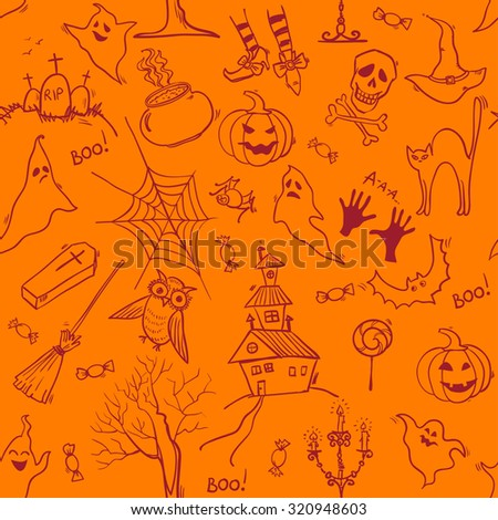 Seamless Halloween pattern with hand drawn doodle elements. Vector background - stock vector