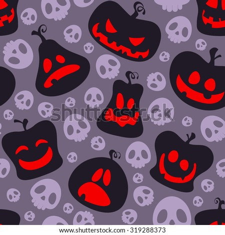 Seamless Halloween pattern with pumpkin faces and skulls - stock vector