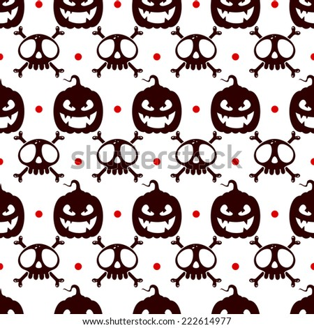 Seamless halloween pattern with pumpkins and skulls and crossbones - stock vector