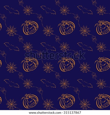 Seamless Halloween pattern with pumpkins, Jack O'Lanterns, bats and spiders in modern line art style. Holiday themed print for textile, wallpaper, websites, scrapbook projects and wrapping paper - stock vector
