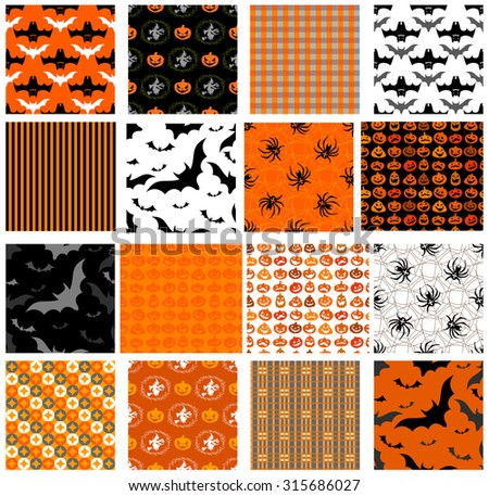 Seamless Halloween patterns for any holiday design. - stock vector
