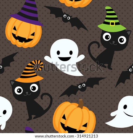 Seamless halloween vector pattern with cats, ghosts and pumpkins - stock vector