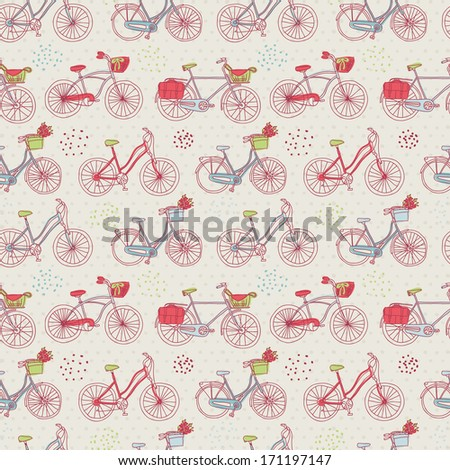 Seamless hand drawn doodle illustration hipster bicycle. Background pattern in vector. - stock vector