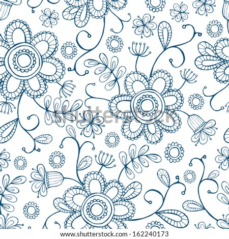 Seamless hand-drawn floral pattern. - stock vector
