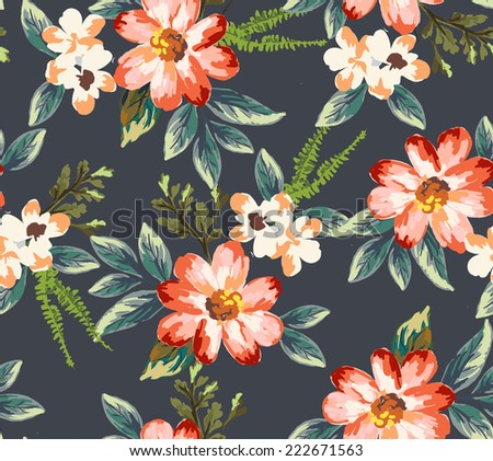 seamless hand-drawn flower vector pattern background - stock vector