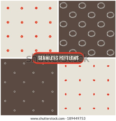 Seamless hand drawn patterns. Vector illustration. - stock vector