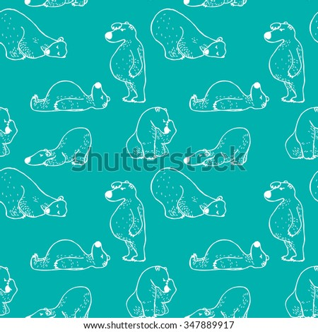 Seamless hand-drawn polar bear pattern in vector - stock vector