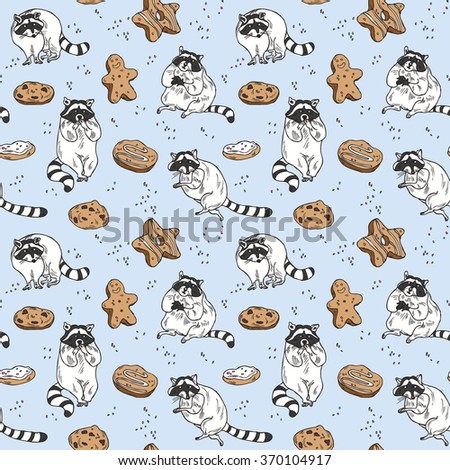 Seamless hand drawn raccoon and cookie pattern in cartoon style in vector - stock vector