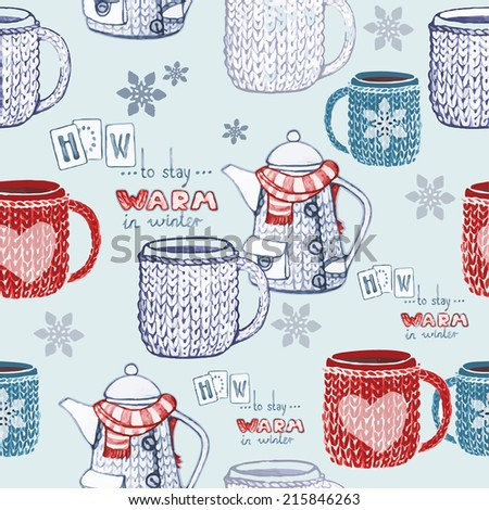 Seamless hand drawn tea pattern with knitted objects and snowflakes. Vector illustration - stock vector