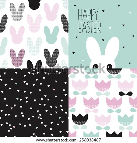 Seamless happy easter holiday bunny hearts and tulips background pattern set and postcard cover design white rabbit illustration  - stock vector