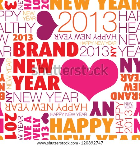 Seamless happy new year 2013 background pattern in vector - stock vector