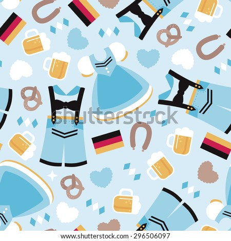 Seamless happy oktoberfest german tradition holiday beer festival munich icons illustration background pattern in vector - stock vector