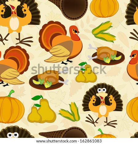 Seamless Happy Thanksgiving Day background with turkey bird, fruits and vegetables.  - stock vector
