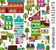 Seamless happy village houses retro new home background pattern in vector - stock vector