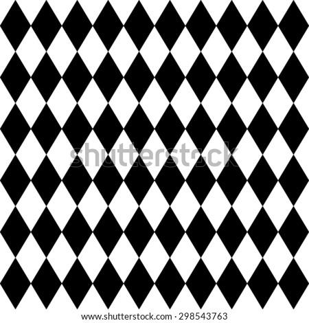 Seamless harlequin or argyle pattern made of black diamonds over white  - stock vector