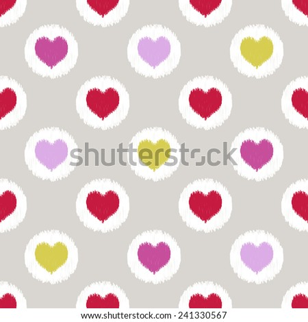 seamless heart scribble pattern - stock vector