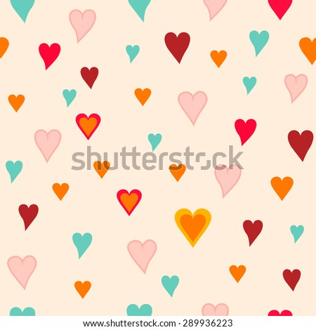 Seamless hearts pattern - stock vector