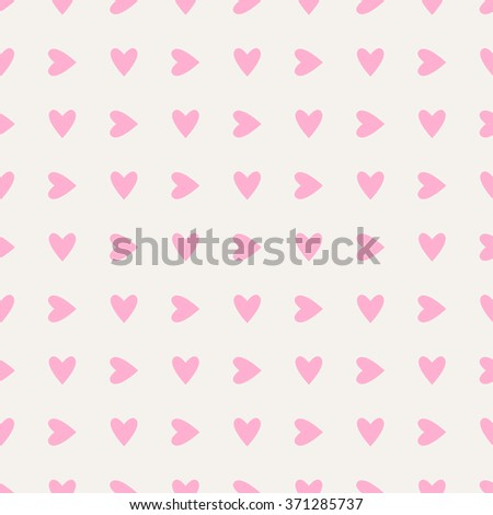 Seamless hearts pattern in pink over white. Valentine's day tile background. Romantic vector pattern. - stock vector
