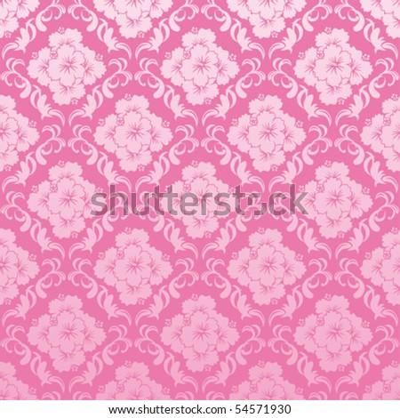 Seamless hibiscus pattern - stock vector