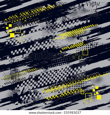 Seamless high-speed vector pattern in dark background  with yellow squares - stock vector
