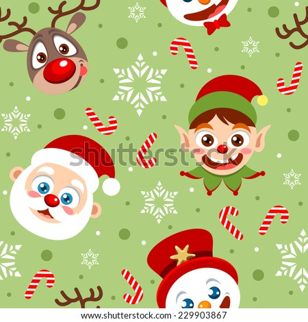 Seamless holiday background with cute Christmas characters, Santa Clause, Elf, Snowman and Reindeer - stock vector