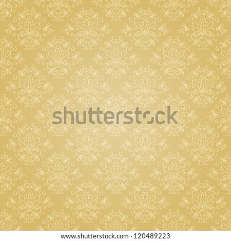 Seamless holiday golden pattern. Seamless pattern can be used for wallpaper, pattern fills, web page background,surface textures, wrapping paper. Floral textile background - stock vector