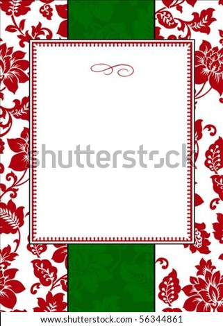 Seamless holiday pattern and decorative frame. Pattern is included as a seamless swatch. - stock vector