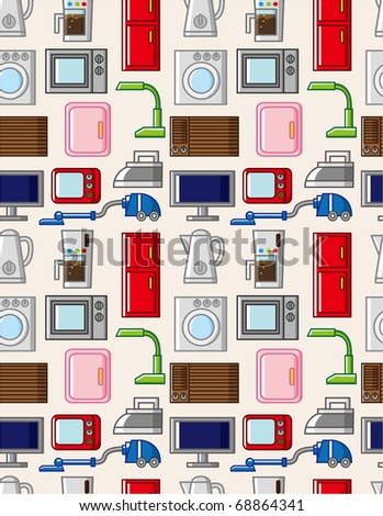 seamless home appliances pattern - stock vector