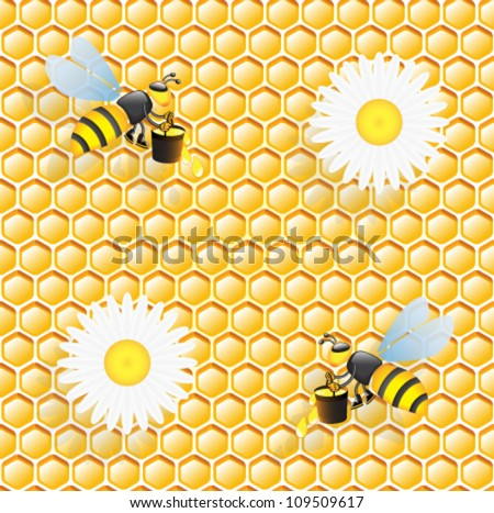 Seamless honeycomb pattern with bees and  flowers of chamomile - stock vector