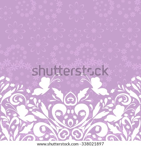Seamless Horizontal Abstract Background, Symbolical Butterflies White Silhouettes and Floral Pattern. Vector - stock vector