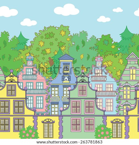 Seamless horizontal background with cute houses, forest and clouds. Hand drawn illustration of pretty village in summer - stock vector