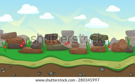 Seamless horizontal background with stones and flowers for game - stock vector
