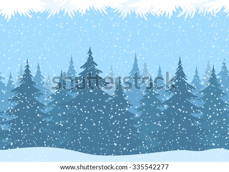 Seamless Horizontal Christmas Winter Forest Landscape with Snow and Fir Trees and Branch Silhouettes. Vector - stock vector