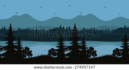 Seamless Horizontal Night Forest Landscape, Trees on the Shore of a Mountain Lake and Birds in the Sky, Black and Blue Silhouettes. Vector - stock vector