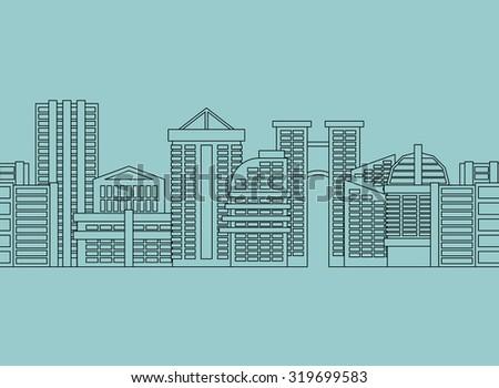 Seamless horizontal ornament City skyscrapers, buildings. Vector modern city, metropolis - stock vector