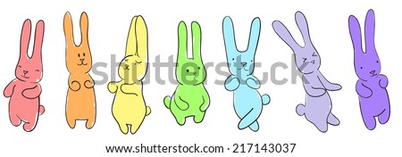 Seamless horizontal pattern of set dancing rainbow rabbits - stock vector