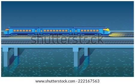 seamless horizontal stylized illustration of a night express train rushing across the bridge - stock vector